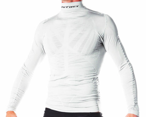 WP3 Cycling Long Sleeve BASE LAYER in White. Made in Italy by Outwet