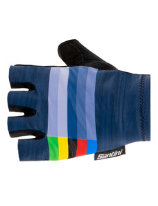UCI Rainbow Cycling Gloves in Nautica Blue by Santini | Cento Cycling