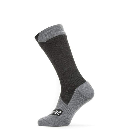 2020/21 Waterproof All Weather Mid Length Sock - Black/Grey