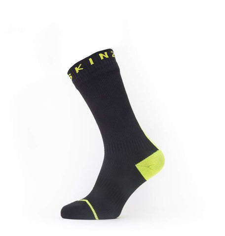 2020/21 Waterproof All Weather Mid Length Sock with Hydrostop - Black/Neon