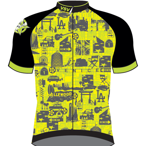 Men's San Vicente CYCLING SHORT SLEEVE JERSEY in Lime Made in Italy by GSG