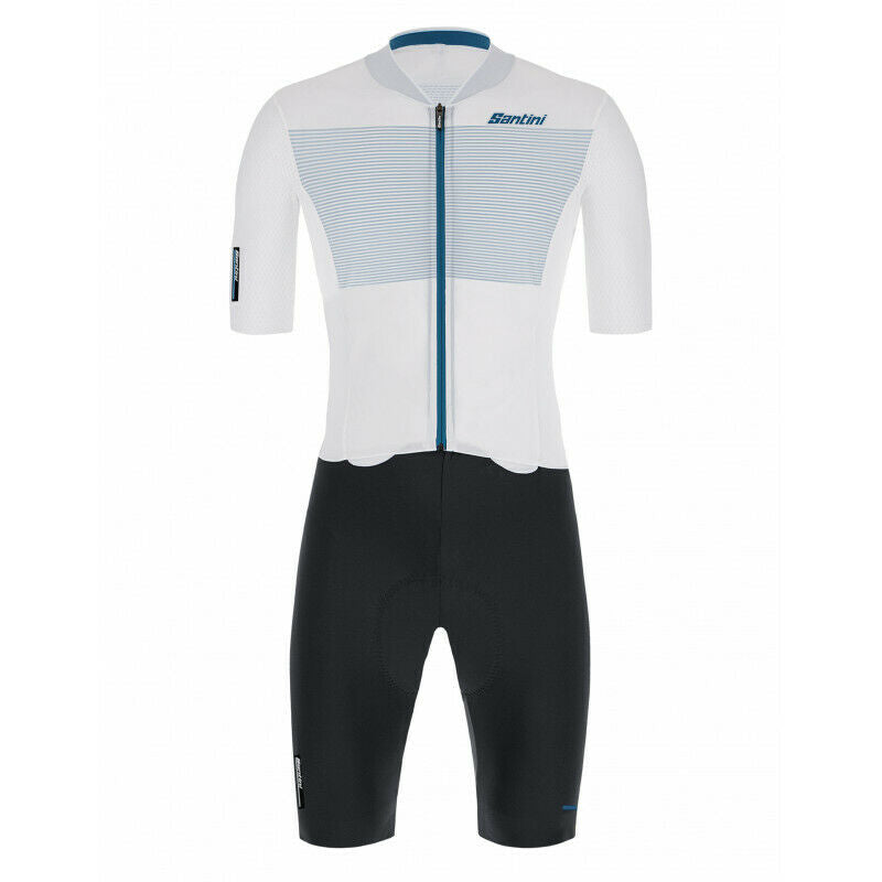 Santini Men's Redux Istinto Skinsuit in Silver - 2021 | Cento Cycling