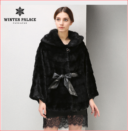 2017 New Winter Products Fashion fur coat Fox fur Collar mink fur coat Upscale black real fur coat WINTER PALACE