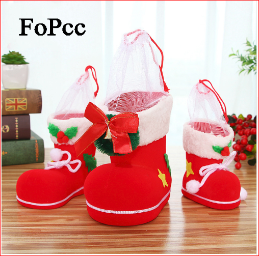 2018 Christmas Flocking Boots Creative Gift Candy Gift Boots Pouch Present Bag Holders Christmas Decoration For Home New Year