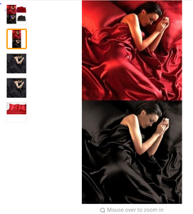 95gsm 4 Pce Luxury Satin Silk Soft QUEEN Bed Fitted Bed Sheet Set - RED BLACK