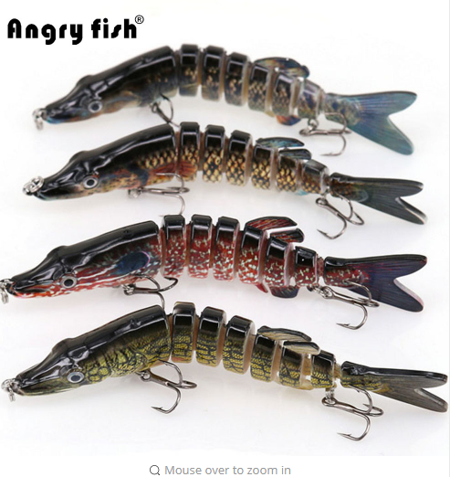 Angryfish 1Pcs Fishing Lure 13cm 29g 8 Segments Lure Bait with Artificial Hooks