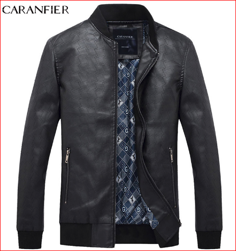 CARANFIER Men Simple PU Leather Jacket Men Super Soft Windproof Male Classic Tactical Cool Coat Best suitable for men M~XXXL