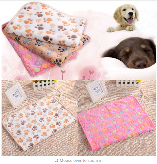 Cute Warm Pet Bed Mat Little Dog Paw Print Puppy Dog Beds Soft Fleece Blanket House