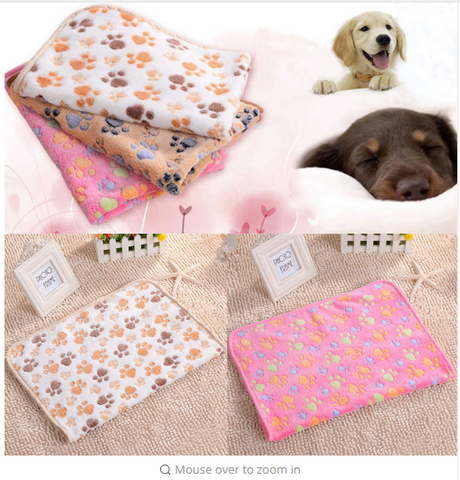 Cute Warm Pet Bed Mat little dog paw print puppy dog beds soft fleece blanket House Pet Supplies
