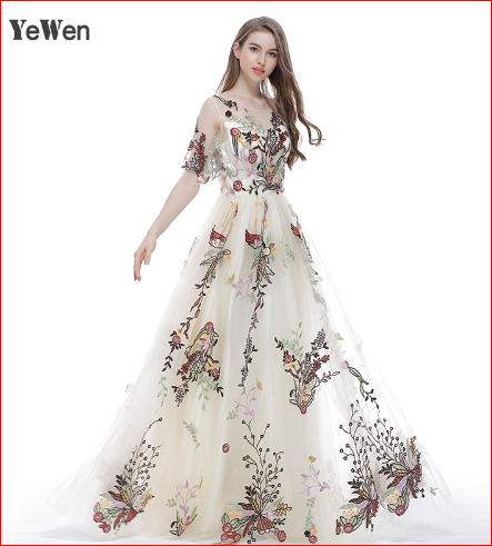 Embroidery Evening Dress New Arrival Women Sleeveless Long Sexy Half Sleeves Plus Size Prom Dresses 2017 Party O Neck Cream