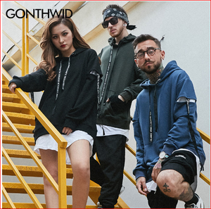 GONTHWI Sleeve Ribbon Hoodies Men 2017 Autumn Patchwork Extended Hooded Sweatshirts Male Hip Hop Casual Skateboards Streetwear