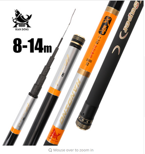 Handing 8m 9m 10m 11m 12m 13m 14m high Carbon fiber Super Hard Fishing Rod Telescopic Rod Sea fishing Rod Taiwan Fishing Rod
