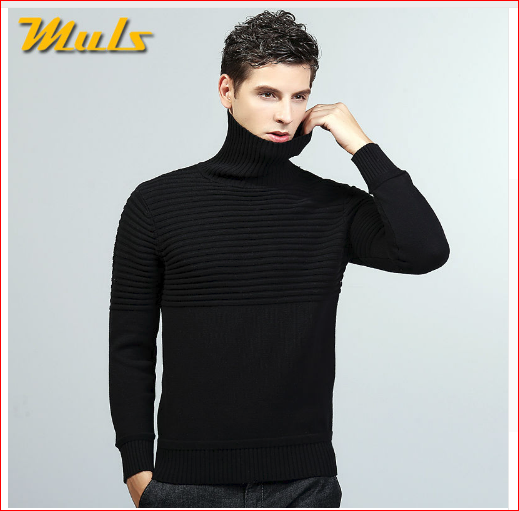 Muls sweaters men turtle neck striped pattern cotton male pullover dress men sweater autumn winter black blue gray jersey MS8929