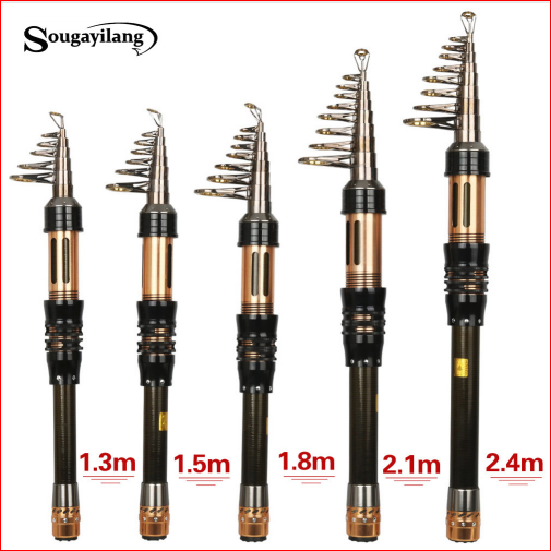 Sougayilang New Spinning Telescopic Fishing Pole 1.3-1.8m Portable Carbon Fiber Fishing Rod Mini