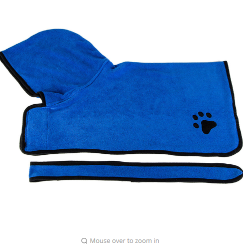 Soft Blue Brown Absorbent Pet Cat Dog Bathrobe Drying Towel Embroidery Paw Dogs Cats Animal Bath Towel Pets Cleaning Accessories