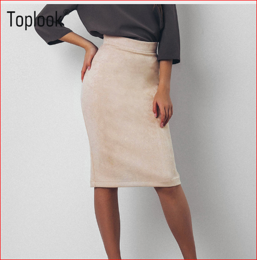 Toplook Split Vintage Suede Bodycon Skirt High Waist Women Knee Length Pencil Skirt Solid OL Office Elegant Skirts Womens 2017