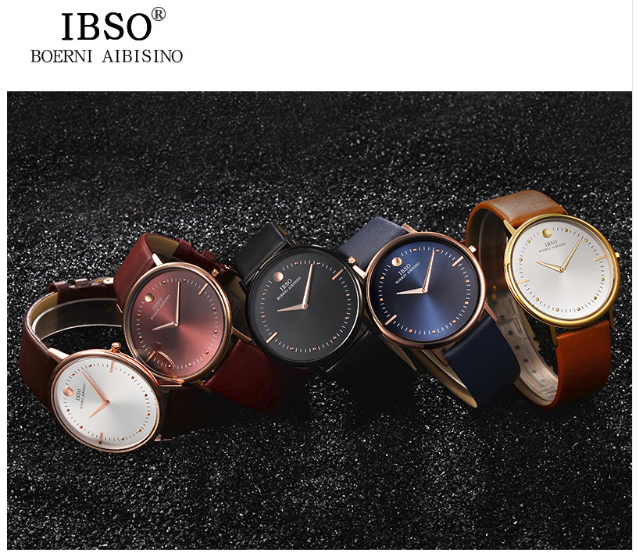 IBSO 7.5MM Ultra-thin Mens Watches Top Brand Luxury Blue Genuine Leather Strap Quartz Watch Men 2017 Fashion Relogio Masculino