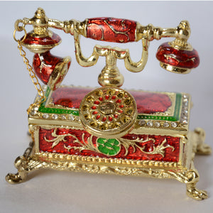 Antique telephone design decoration trinket box with rhinestone jeweled enamel hinged Rings Box Earring/Pendant Display Gift Box