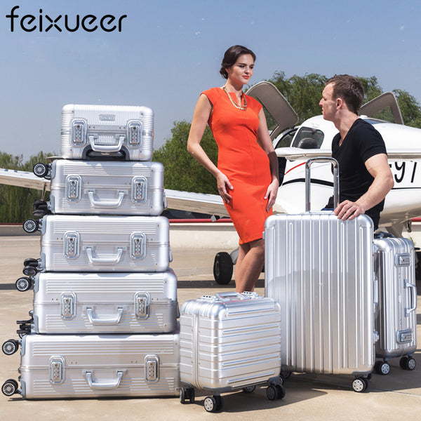 feixueer 18 inch Aluminium Magnesium Alloy Rolling Luggage Full Metal Travel Suitcase Luxury Brand Business Trolley Bags Silver
