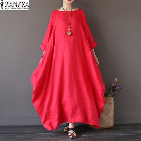 2017 ZANZEA Womens Crewneck 3/4 Sleeve Baggy Maxi Long Casual Party Shirt Dress Kaftan Solid Robe Vestido Plus Size