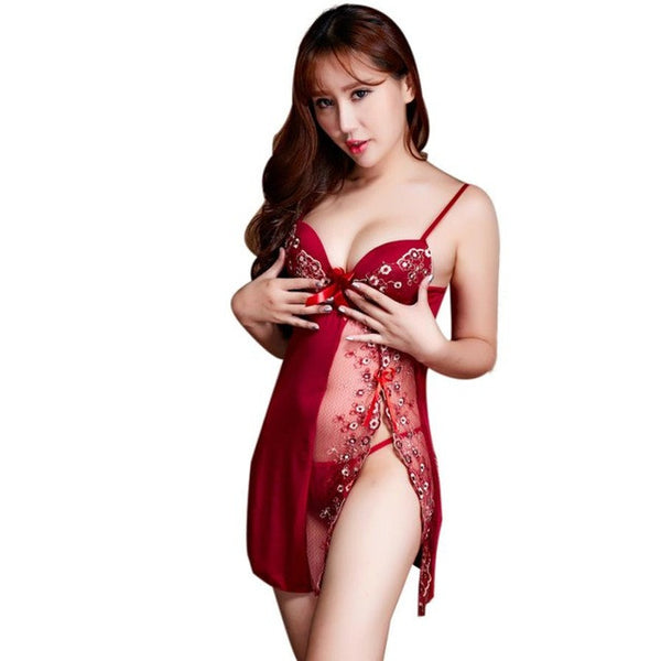 Black Wine Women Sexy Intimates Lingerie Underwear Sleepwear Nightwear Dress G-String Temptation Lace