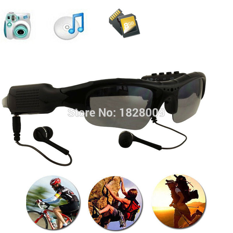 Eyewear Sunglasses Camera Support TF Card Music Video Recorder DVR DV MP3 Camcorder Music glasses with earphone