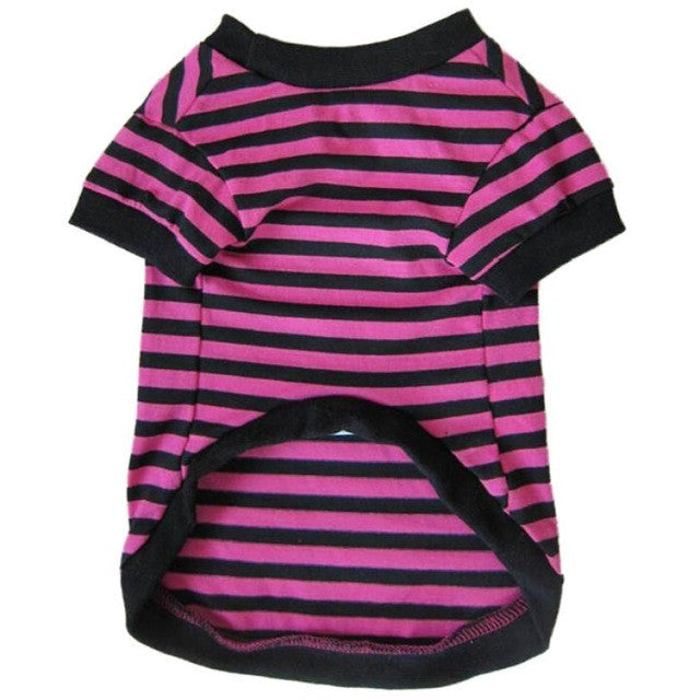 2016 Pet Dog T-shirt Vest Apparel Wear Dog Wide Stripes T-shirt Doggy Clothes Cotton Shirts roupa de cachorro