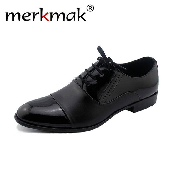 Merkmak 2016 Dress Men Shoes British Style Men Trend Pointed Toe Casual Flats Men Business Wedding Shoes Patent Leather Shoes