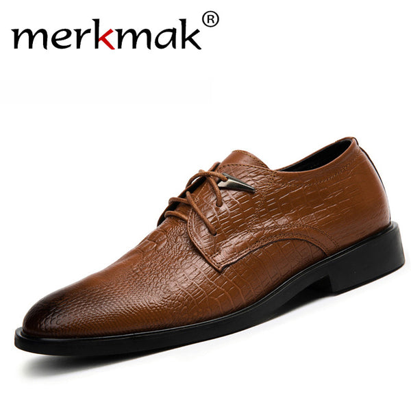 Genuine cowhide leather men dress shoes brown black oxford shoes for men business formal leather crocodile grain men flat shoes
