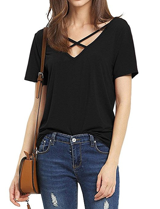Women's Summer Cross Front Tops Deep V Neck Casual Teen Girls Tees T Shirts