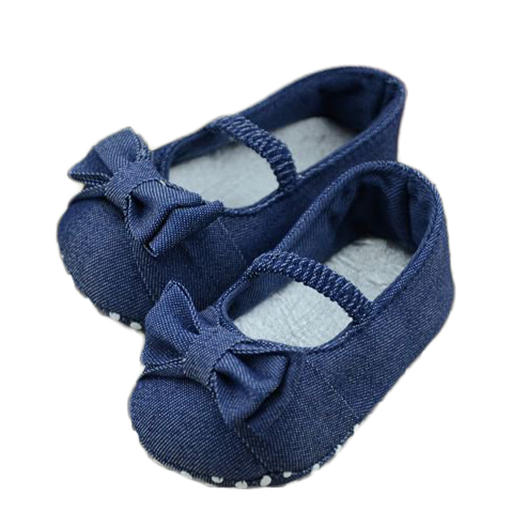 Wholesale Baby Girls Shoes Spring Anti-slip Indoor Shoes Sneakers Newborn Branded Toddler First Walkers Denim Prewalker Shoes