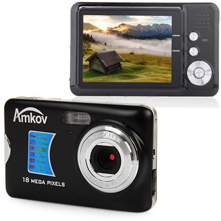 Amkov 18 Megapixel Camara Fotografica Digital 2.7'' TFT LCD Display Portable Shoot Digital Cameras Face Tracking Video Camcorder