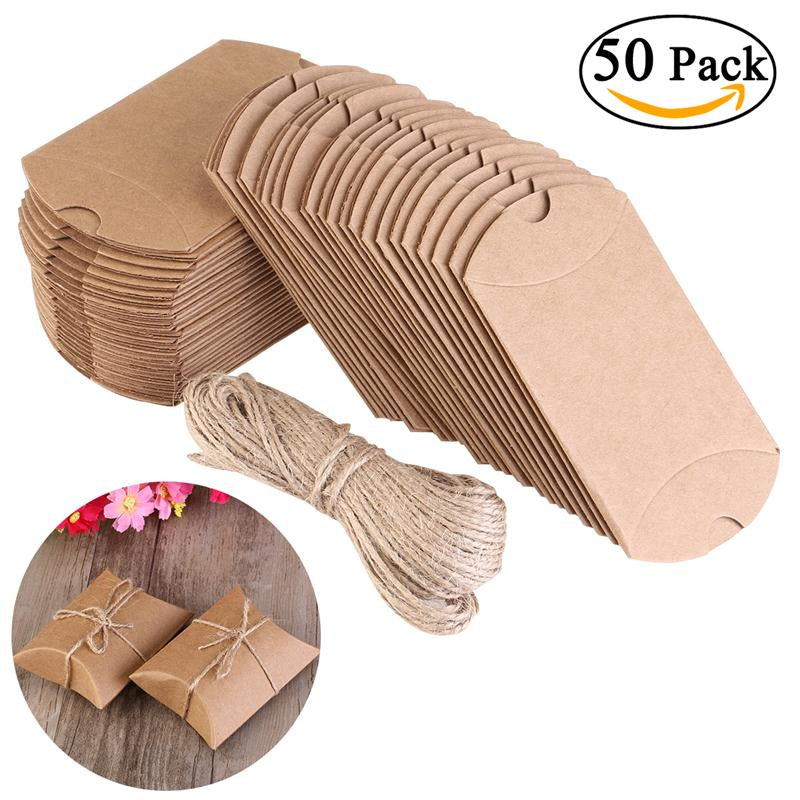 50pcs Wedding Gifts For Guests Kraft Boxes Wedding Favors Vintage Boxes Rustic Wrapping Gift Candy Boxes with Rope Wedding Favor