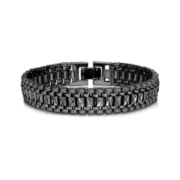 U7 Mens Bracelet Punk Rock Style Black/Silver/Gold Color Big Wide Chunky Chain Link Bracelets Meditation Men Jewelry Gift H550