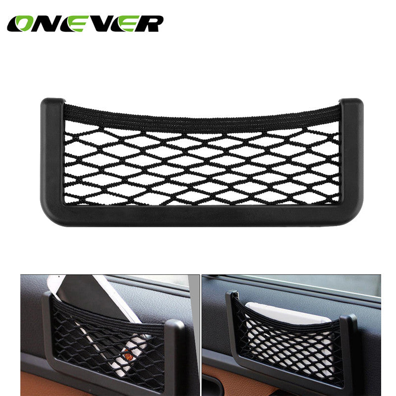 Car Seat Back Storage Mesh Net Bag Strong Magic Tape Luggage Holder Car Trunk Organizer Car Styling15*8cm