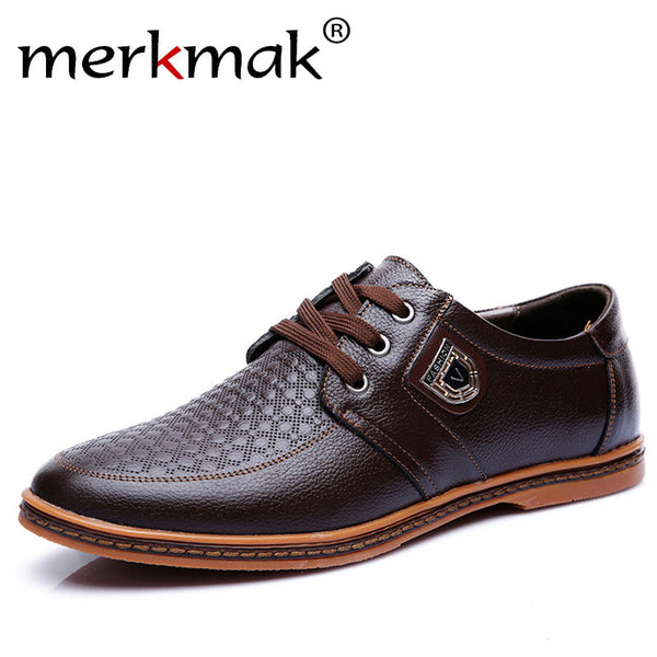 Merkmak New Men's Leather Casual Shoes Autumn Luxury Brand Shoes Men Flat Shoes Adult Moccasins Male Shoes Chaussure Home