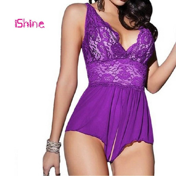 Ishine sexy lingerie dress Lace Suspender Nightdress Costumes pajamas For Women Temptation intimates babydoll Exotic Apparel