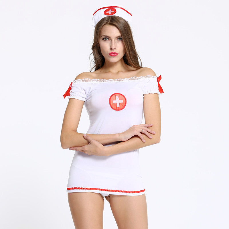 Sexy lingerie Nurse Temptation uniform set Exotic Apparel horizontal neck ladies women Profession Costumes Fancy Dress Cosplay