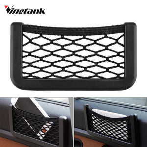 Car Seat Side Back Storage Net Bag Luggage Holder Pocket Sticker Trunk Organizer Strong Magic Tape Car-styling