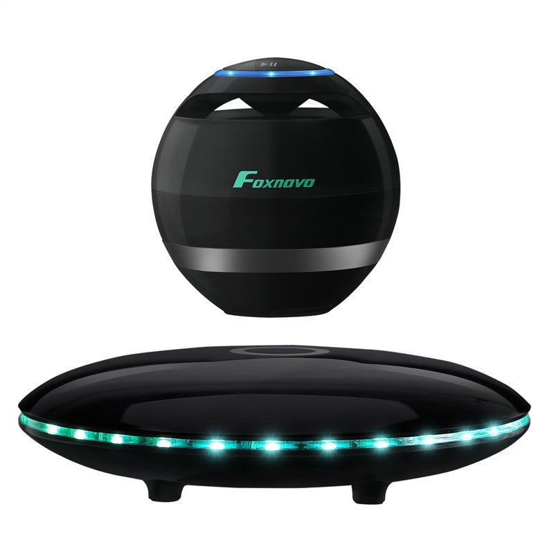 FOXNOVO Levitating Bluetooth Speaker Portable Wireless LED Floating Bluetooth Speaker Multicolor LED 360 Degree Rotating Stereo Speaker