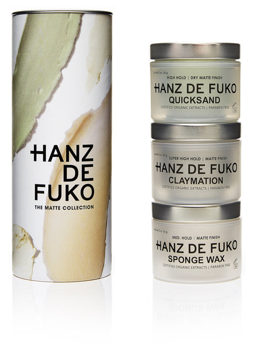 Hanz de Fuko Deluxe 3 Pack Gift Set Matte Men's Styling Wax Clay Pomade Paste Quicksand Claymation Sponge Wax