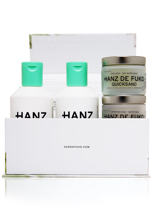 Hanz de Fuko Signature Collection Gift Set Men's Hair Styling Grooming Clay Wax Pomade Paste Natural Shampoo Conditioner Claymation Sponge Wax Quicksand Standing