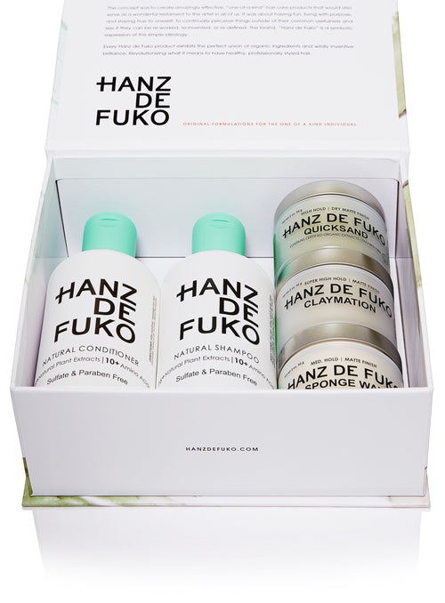 Hanz de Fuko Signature Collection Gift Set Men's Hair Styling Grooming Clay Wax Pomade Paste Natural Shampoo Conditioner Claymation Sponge Wax Quicksand