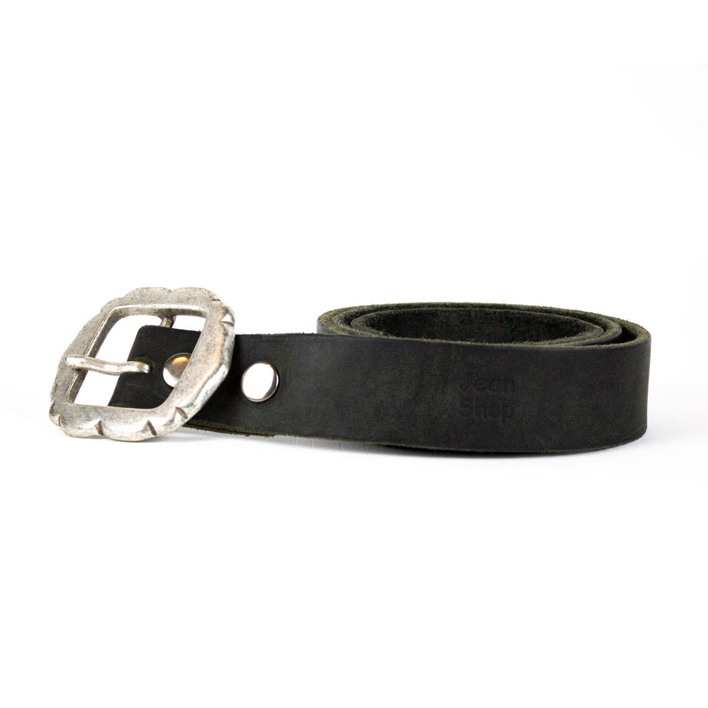 Leather Belt, 2 Snap, Rustic Black - Jean Shop NYC