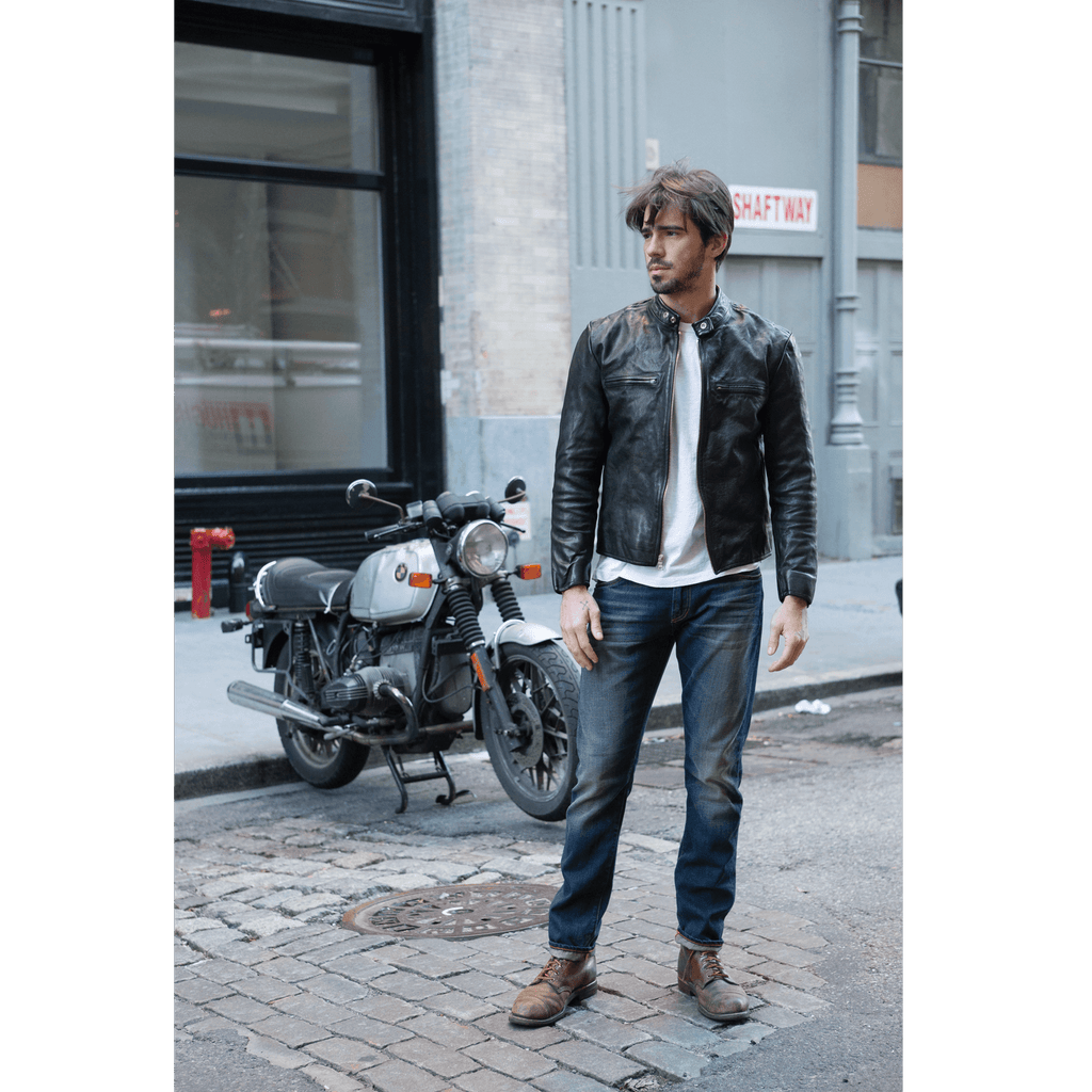 Men's Leather Moto Jacket Goat