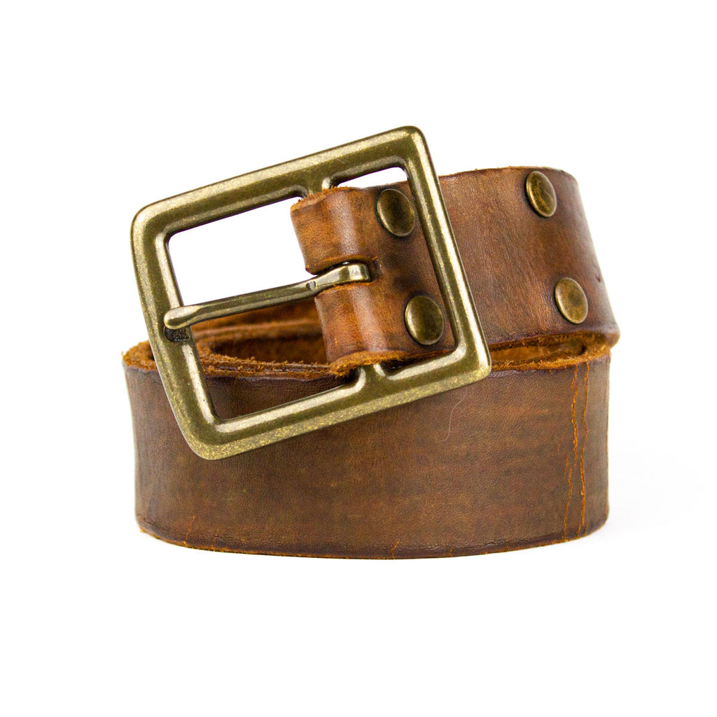 Hand Distressed Leather Belt, Cracked Brown - Jean Shop NYC