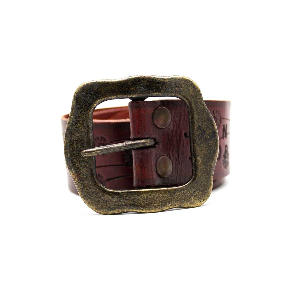 Floral Embossed Leather Belt, Red - Jean Shop NYC