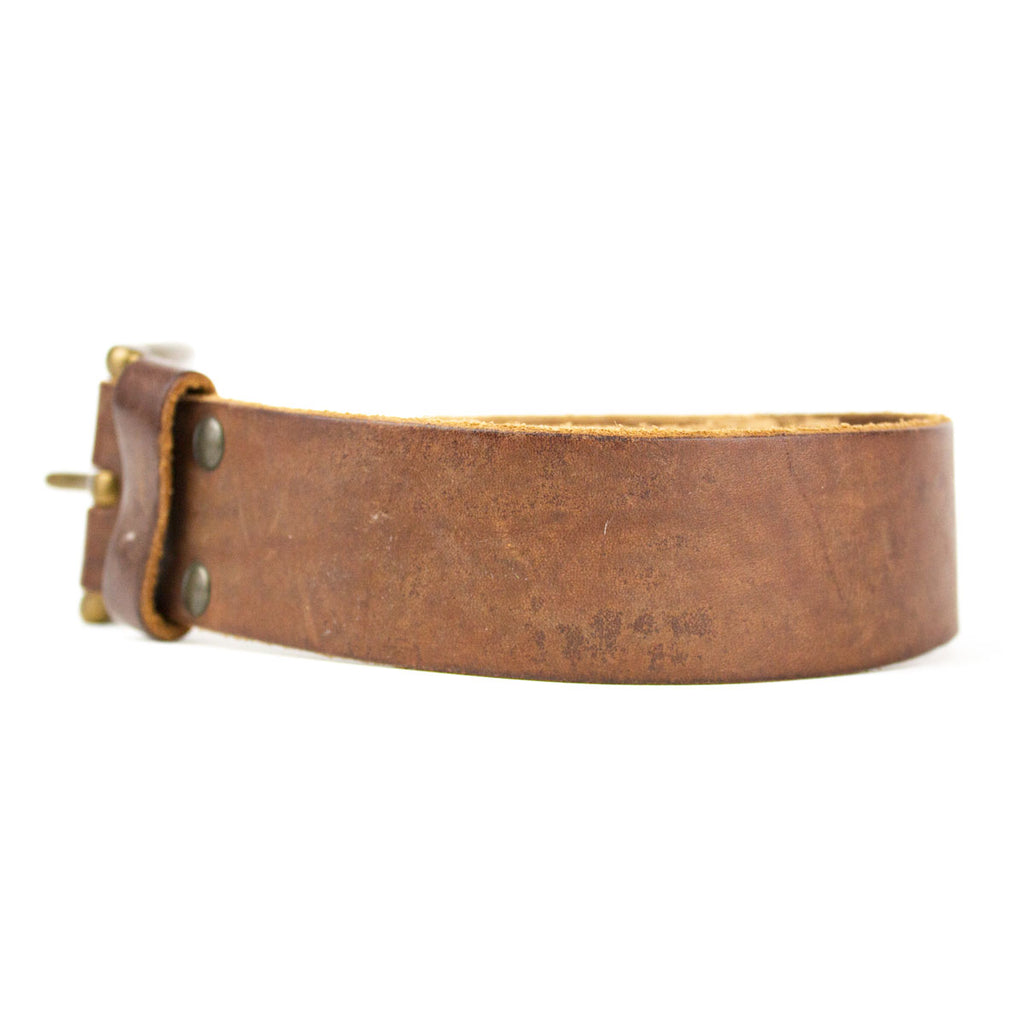 Solid Strap Leather Belt, Brown - Jean Shop NYC