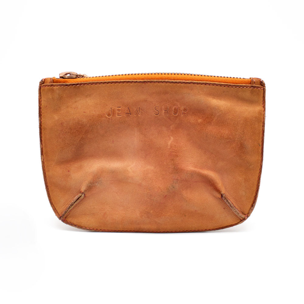 Distressed Leather Pouch, Burnt Tan - Jean Shop NYC