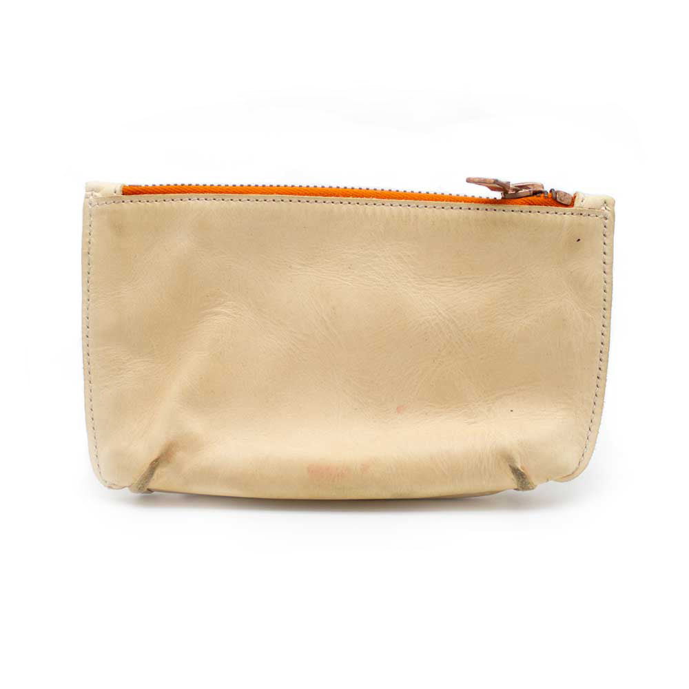 Distressed Leather Pouch, Tan - Jean Shop NYC